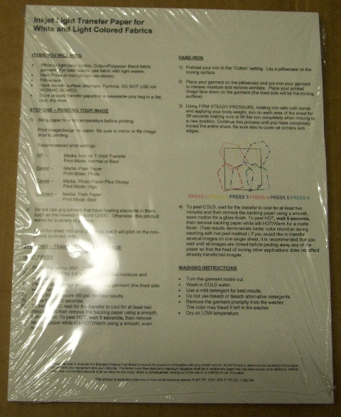 iron on transfer paper instructions Iron on the transfers pack includes 5 sheets of a4 transfers suitable for inkjet printers more like this category:  3 for 2 printer paper view more.