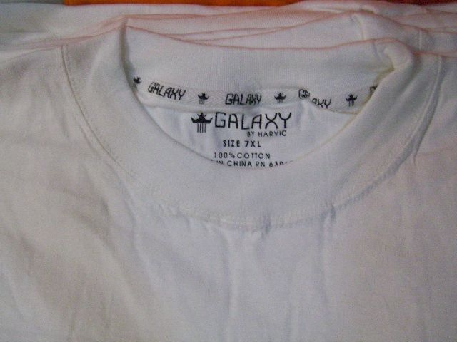 12 Pcs 7XL S Slv GALAXY white tshirts