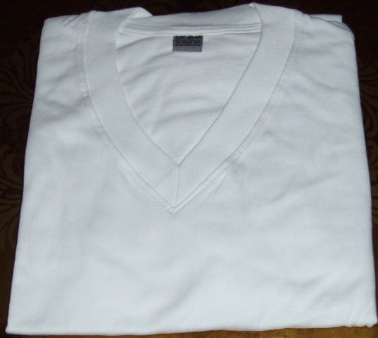 12 pcs White V Neck Gemrock tshirts